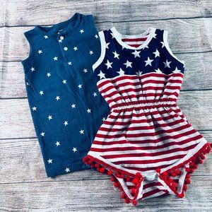 Set of 2 18-24m Girls short rompers Red White Blue